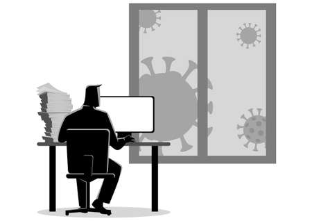Simple flat black and white vector illustration of a man working from home during the coronavirus outbreak