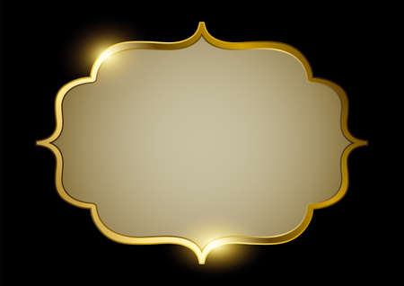 Vector illustration of golden frame with blank space for copy