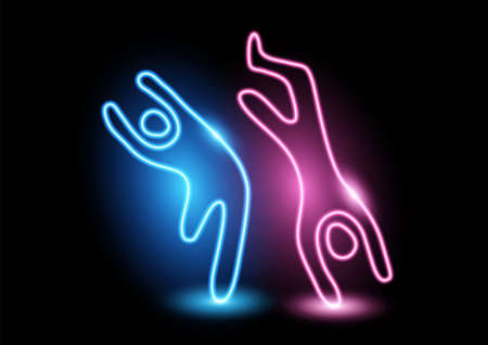 Vector illustration of a dancing neon figures