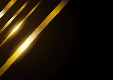 Golden lines abstract background, luxurious design template, vector illustration