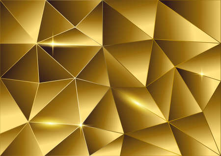Abstract background of golden triangles, vector modern design