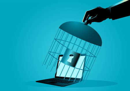 Human hand covering a laptop with bird cage, computer security concept, vector illustration Illustration