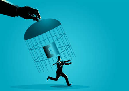 Giant hand capturing a running businessman with birdcage, business concept vector illustration