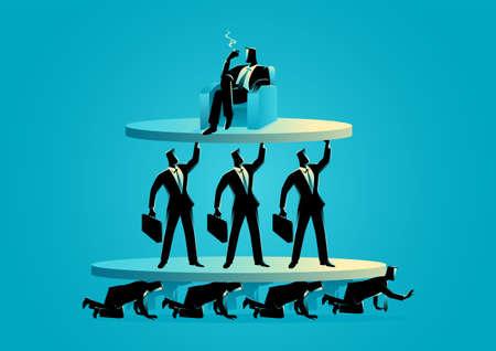Business concept vector illustration of work class pyramid Vecteurs
