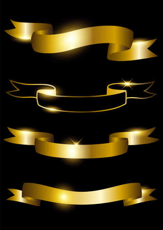 Vector illustration of golden ribbons isolated on black background