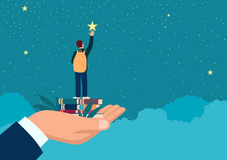 Simple flat vector illustration of a man hand lifting up a school boy to reach for the star, education, parents responsibility concept