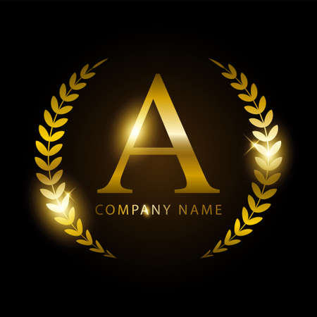 Luxury golden letter A for premium brand identity or label. Vector illustration