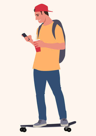 Simple flat vector illustration of young man on skateboard using smart phone. Cartoon character