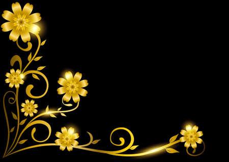 Luxury decorative golden floral frame for border. Vector illustration