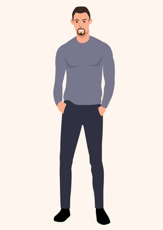 Simple flat vector illustration of skinny tall guy wearing sweater. Cartoon character