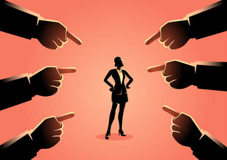 Vector illustration of a woman being pointed by giant fingers