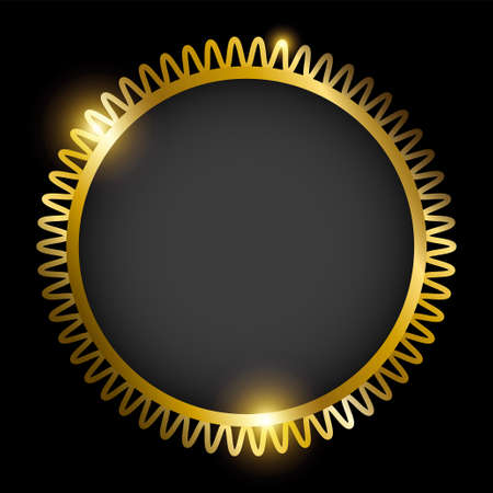 Golden round frame isolated on black background. Vector illustration