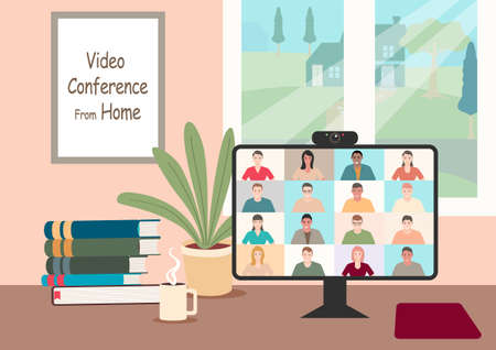 Simple flat cartoon illustration. Stay and work from home during pandemic, video conference vector illustration. Computer screen, group of people talking via internet