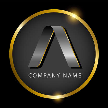 Luxury letter A in golden circle for premium brand identity or label. Vector illustration Illustration