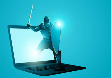 Vector illustration of a knight with shield and sword appearing from laptop screen. Anti virus, protection, computer security concept