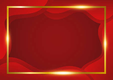 Abstract red background with gold freame. Vector illustration Illustration