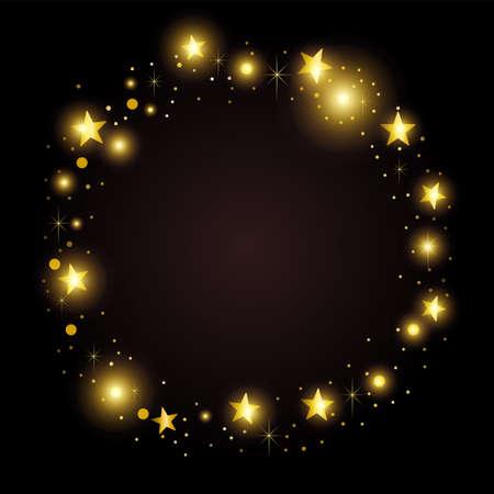 Round gold frame of random golden stars on black background. Template design for festive frame, Christmas, holiday or invitation