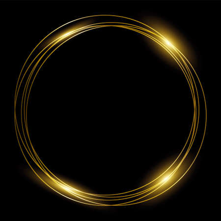 Round gold frame of golden rings on black background. Template design for festive frame, christmas, label or invitation