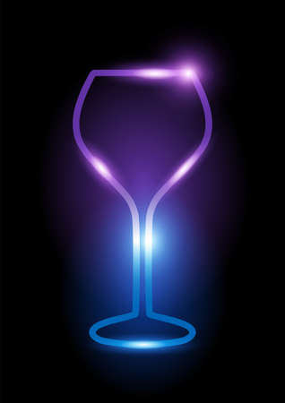 Glowing neon wine glass icon isolated on black background. Vector illustration Illustration
