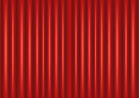 Vector illustration of closed red curtain, theater, performance template design