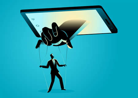 Vector illustration of smart phone controlling man. Social media, gadget, technology dependency concept