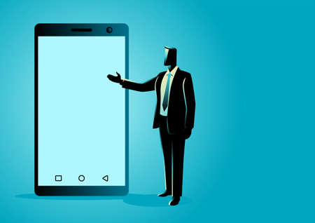 Vector illustration of businessman presenting a blank screen smart phone
