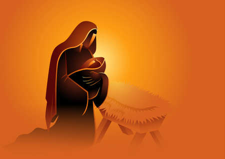 Biblical vector illustration series, Mary holding baby Jesus. Christmas theme