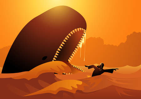 Religion vector illustration series, Jonah and the whale