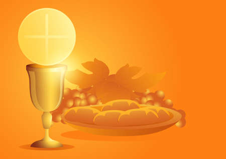 Sacrament of communion, Catholic church ceremony, Eucharist symbol with chalice, bread and grapes. Vector illustration