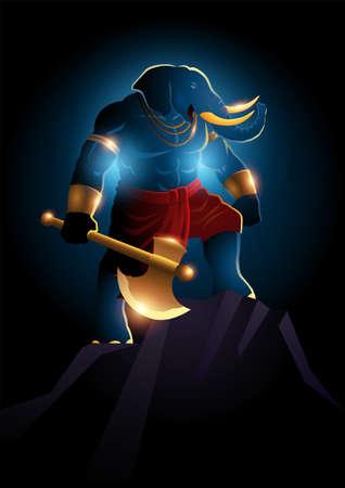 Vector fantasy art illustration of Ganesh, Indian God of Hindu