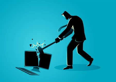 Businessman destroying desktop computer with sledge hammer, vector illustration Vettoriali