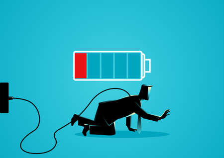 Business illustration of a businessman crawling on the floor with low battery indicator. Tired, low energy, weak concept