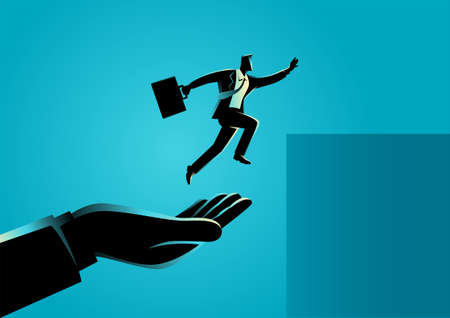 Business concept vector illustration of a hand helping a businessman to jump higher