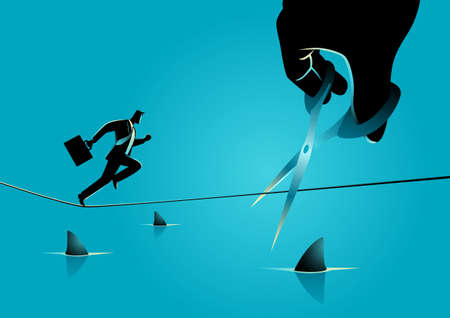 Business concept illustration of a businessman running on rope over a sea full with sharks, meanwhile a giant hand with scissors is cutting the rope