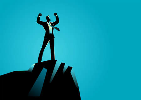 Business concept vector illustration of a businessman standing on top of rock. Spirit, determination concept