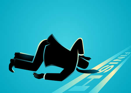 Business concept vector illustration of a businessman fell down before finish line