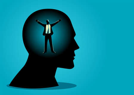 Business concept vector illustration of a businessman in human head opening his arms, freedom, free your mind concept
