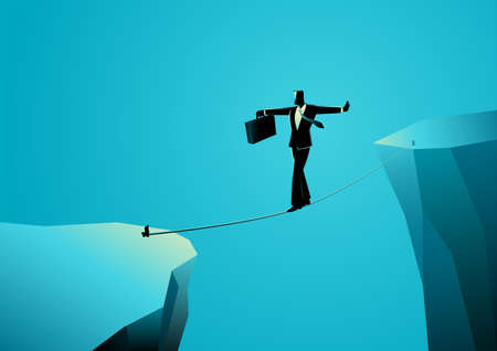 Business concept vector illustration of businessman walking on rope to cross a gap, balancing not to fall. Business risk