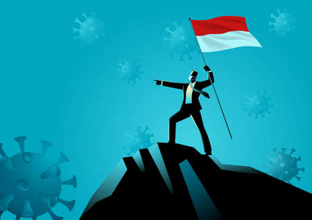 Business concept vector illustration of a businessman holding the flag of Indonesia on top of the mountain. Optimism during pandemic Ilustração