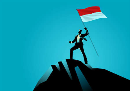 Business concept vector illustration of a businessman holding the flag of Indonesia on top of the mountain