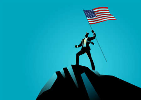 Business concept vector illustration of a businessman holding the flag of USA on top of the mountain