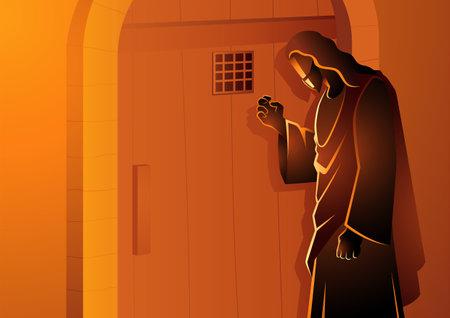 Biblical vector illustration series of Jesus Knocking on the Door