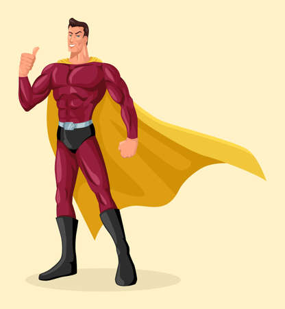 Vector illustration of superhero with gallant pose giving thumbs up, simple flat cartoon