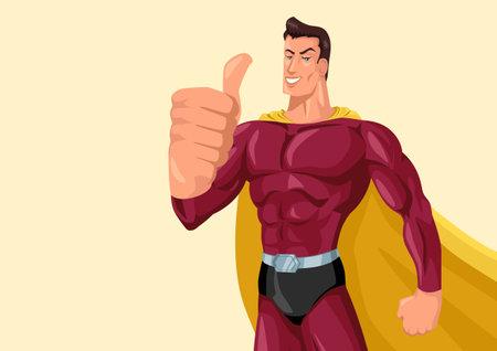 Vector illustration of superhero giving thumbs up, simple flat cartoon