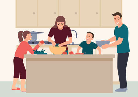 Simple flat vector illustration of happy family having fun cooking at home together