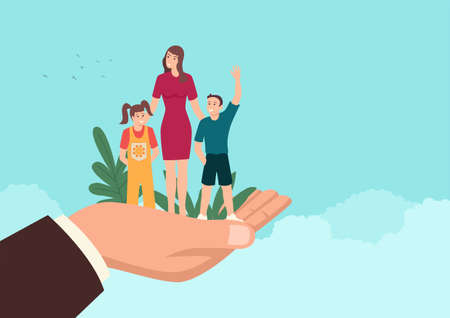 Simple flat vector illustration of a man hand holding a mother with her children, insurance, responsible concept.