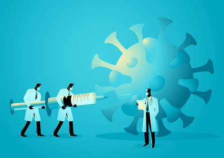 Vector illustration of medical team lift up giant syringe to fight against pandemic, vaccine for COVID-19 concept Illustration