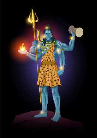 Vector illustration of Lord Shiva standing on top of a rock, Indian God of Hindu