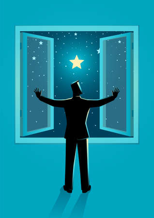 Vector illustration of a man opening the window wide to see clear starry night sky