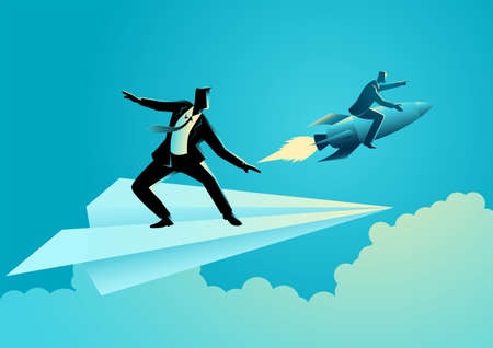 Business concept vector illustration of businessman on paper plane compete with a businessman on a rocket